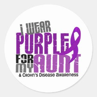 I Wear Purple For My Aunt 6 Crohn's Disease Round Sticker
