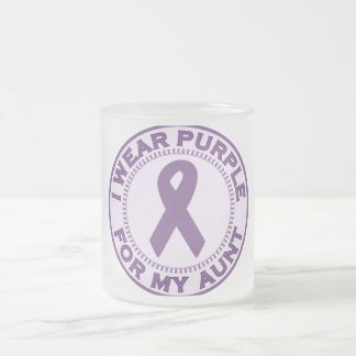 I Wear Purple For My Aunt Frosted Glass Mug