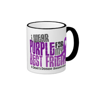 I Wear Purple For My Best Friend 6 Crohn's Disease Ringer Mug