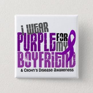 I Wear Purple For My Boyfriend 6 Crohn's Disease 15 Cm Square Badge