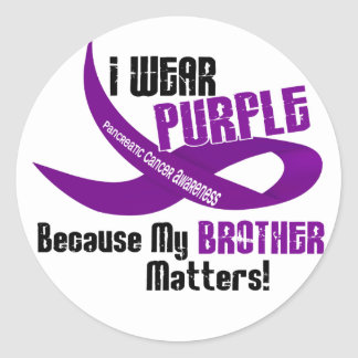 I Wear Purple For My Brother 33 PANCREATIC CANCER Round Sticker