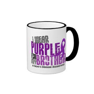 I Wear Purple For My Brother 6 Crohn's Disease Ringer Mug