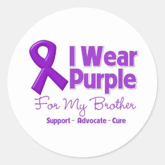 I Wear Purple For My Brother Round Sticker