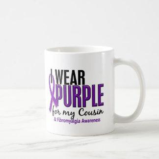I Wear Purple For My Cousin 10 Fibromyalgia Basic White Mug