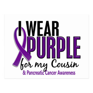 I Wear Purple For My Cousin 10 Pancreatic Cancer Postcard