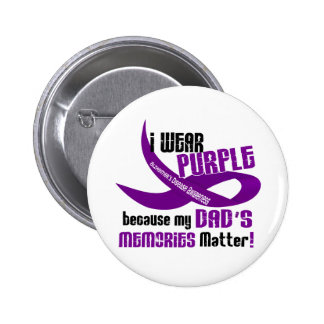 I Wear Purple For My Dad's Memories 33DAD 6 Cm Round Badge
