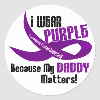 I Wear Purple For My Daddy 33 PANCREATIC CANCER Round Sticker