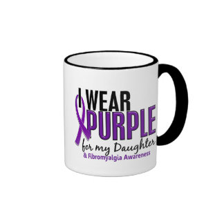 I Wear Purple For My Daughter 10 Fibromyalgia Ringer Mug