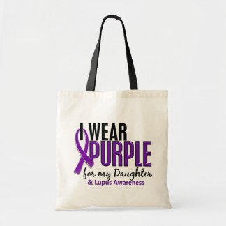 I Wear Purple For My Daughter 10 Lupus Budget Tote Bag