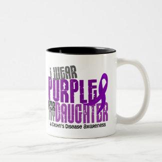 I Wear Purple For My Daughter 6 Crohn's Disease Two-Tone Coffee Mug