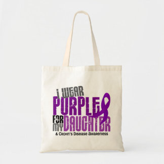 I Wear Purple For My Daughter 6 Crohn's Disease Budget Tote Bag