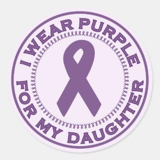 I Wear Purple For My Daughter Round Sticker