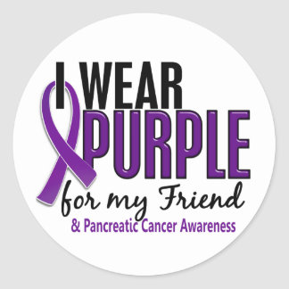 I Wear Purple For My Friend 10 Pancreatic Cancer Round Sticker