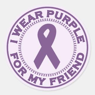 I Wear Purple For My Friend Round Sticker