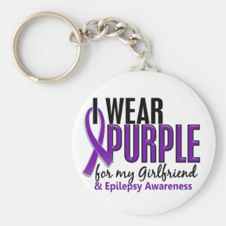 I Wear Purple For My Girlfriend 10 Epilepsy Basic Round Button Key Ring