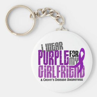 I Wear Purple For My Girlfriend 6 Crohn's Disease Basic Round Button Key Ring