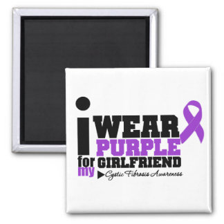 I Wear Purple For My Girlfriend Cystic Fibrosis Square Magnet