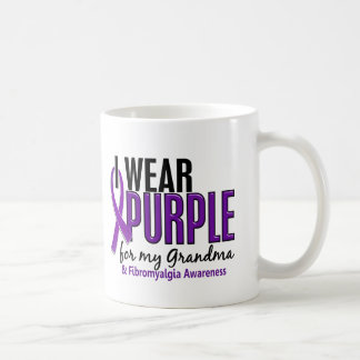 I Wear Purple For My Grandma 10 Fibromyalgia Basic White Mug