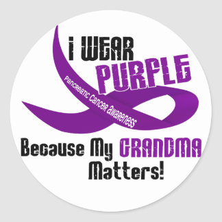 I Wear Purple For My Grandma 33 PANCREATIC CANCER Classic Round Sticker