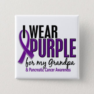 I Wear Purple For My Grandpa 10 Pancreatic Cancer 15 Cm Square Badge