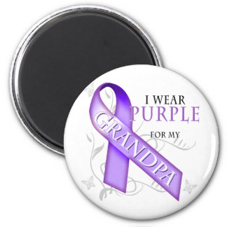 I Wear Purple for my Grandpa 6 Cm Round Magnet