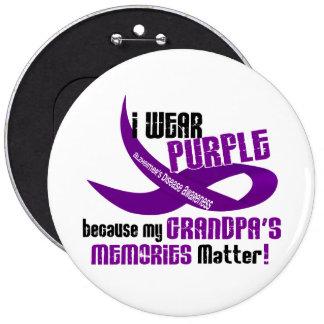 I Wear Purple For My Grandpa's Memories 33 6 Cm Round Badge