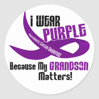 I Wear Purple For My Grandson 33 PANCREATIC CANCER Classic Round Sticker