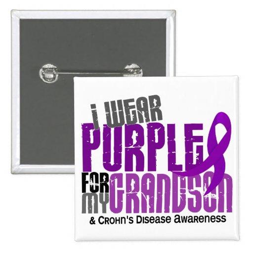 I Wear Purple For My Grandson 6 Crohn's Disease Pinback Button