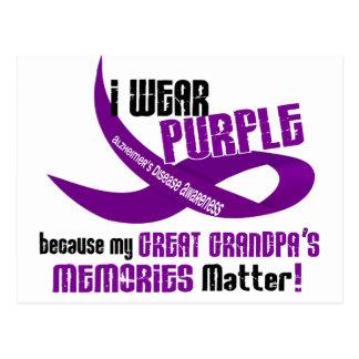 I Wear Purple For My Great Grandpa's Memories 33 Postcard