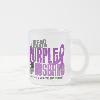 I Wear Purple For My Husband 6 Crohn's Disease Frosted Glass Mug