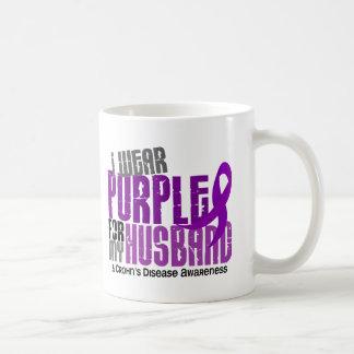 I Wear Purple For My Husband 6 Crohn's Disease Basic White Mug
