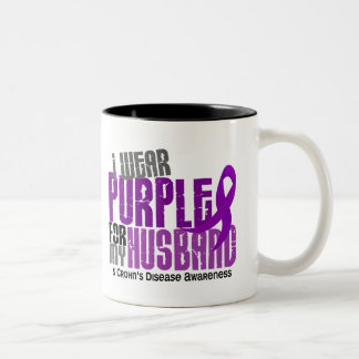 I Wear Purple For My Husband 6 Crohn's Disease Two-Tone Coffee Mug