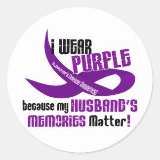 I Wear Purple For My Husband's Memories 33 Round Sticker