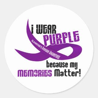 I Wear Purple For My Memories 33 Round Sticker