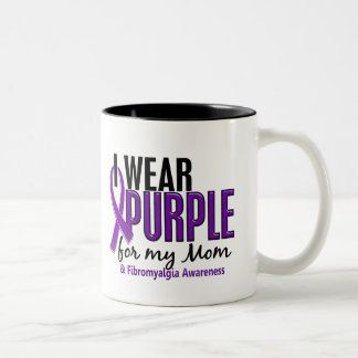 I Wear Purple For My Mom 10 Fibromyalgia Two-Tone Mug