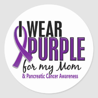 I Wear Purple For My Mom 10 Pancreatic Cancer Round Sticker