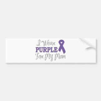 I Wear Purple For My Mom Purple Ribbon Bumper Sticker