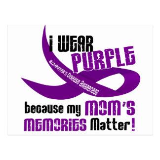 I Wear Purple For My Mom's Memories 33 Postcard
