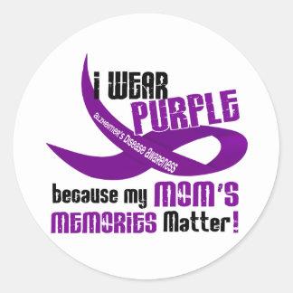 I Wear Purple For My Mom's Memories 33 Round Sticker