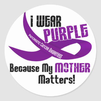 I Wear Purple For My Mother 33 PANCREATIC CANCER Classic Round Sticker