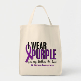 I Wear Purple For My Mother-In-Law 10 Lupus Grocery Tote Bag