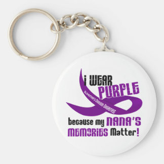 I Wear Purple For My Nana's Memories 33 Basic Round Button Key Ring