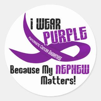 I Wear Purple For My Nephew 33 PANCREATIC CANCER Round Sticker