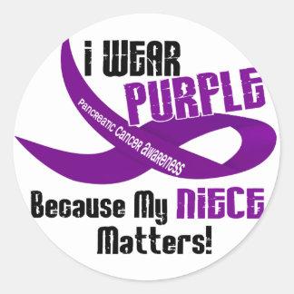I Wear Purple For My Niece 33 PANCREATIC CANCER Round Sticker