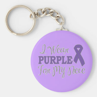 I Wear Purple For My Niece (Purple Ribbon) Basic Round Button Key Ring
