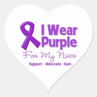 I Wear Purple For My Niece Heart Stickers