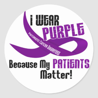 I Wear Purple For My Patients 33 PANCREATIC CANCER Round Stickers
