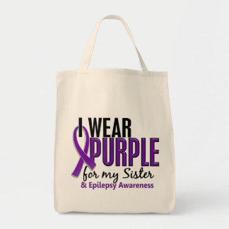 I Wear Purple For My Sister 10 Epilepsy Tote Bag