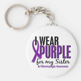 I Wear Purple For My Sister 10 Fibromyalgia Basic Round Button Key Ring