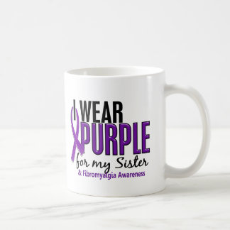 I Wear Purple For My Sister 10 Fibromyalgia Basic White Mug